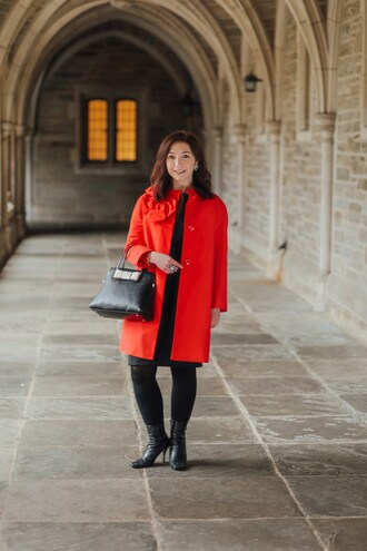 theclosetbychristie blogger dress coat shoes jewels tights bag scarf jeans red coat handbag boots