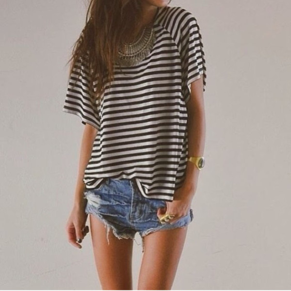 t-shirt black and white stripes jewels