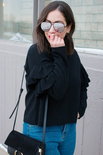 adventures in fashion blogger sweater jeans shoes sunglasses bag ruffle chloe bag black sweater