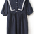Navy Short Sleeve Cross Print Lace Pleated Dress - Sheinside.com