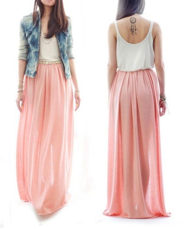 skirt pink baby pink coral chiffon maxi skirt