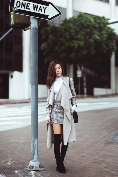 tsangtastic blogger coat top skirt jewels shoes bag