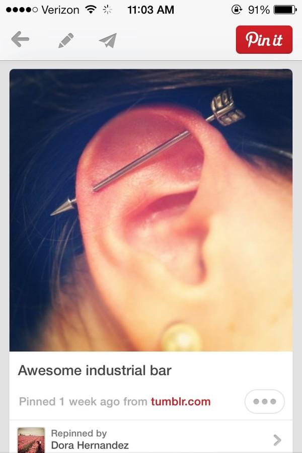 Body jewelry arrow industrial barbell 14g cartilage earring