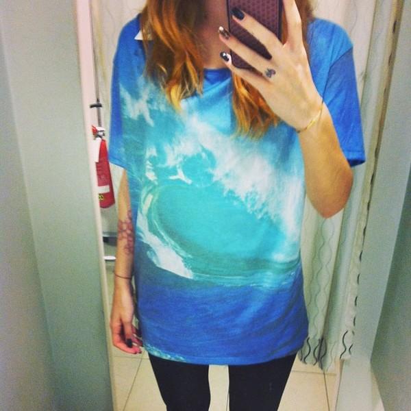 shirt skater wave t-shirt light blue summer surf