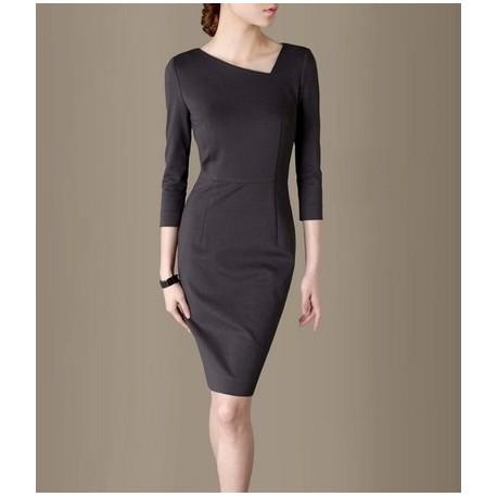 Grey Elegant Noble Summer OL Slim Women Fashion Dress lml7022 - ott-123 - Global Online Shopping for Dresses