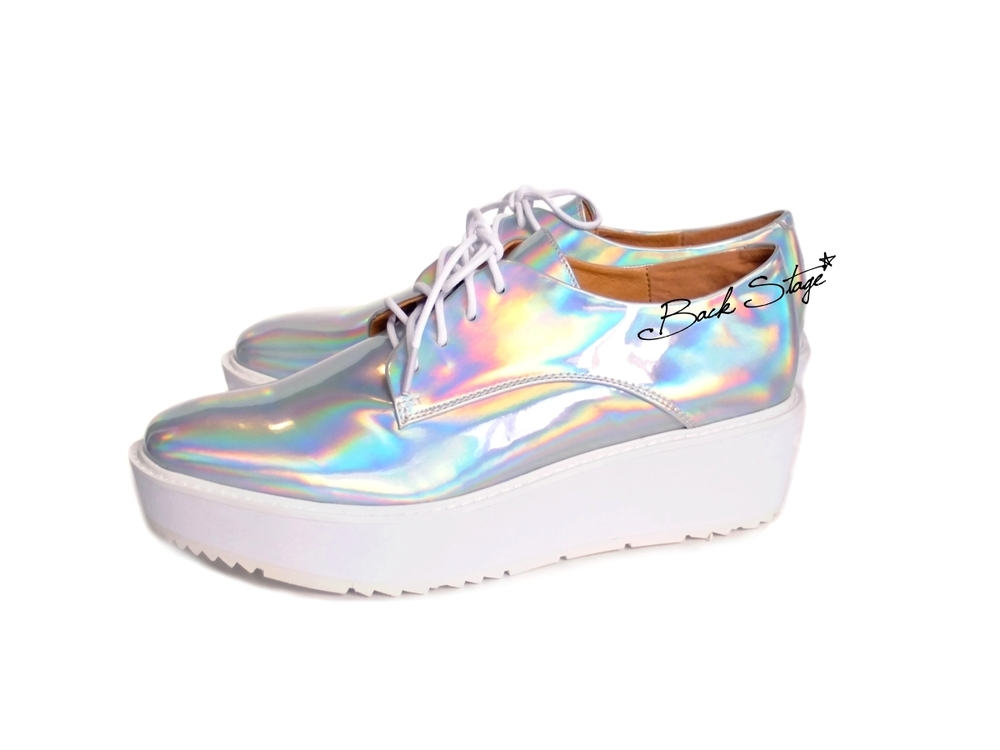 Limited Edition - Hologram Holographic Metallic Mirrors Platform Oxford Brogues Shoes   | Back Stage*