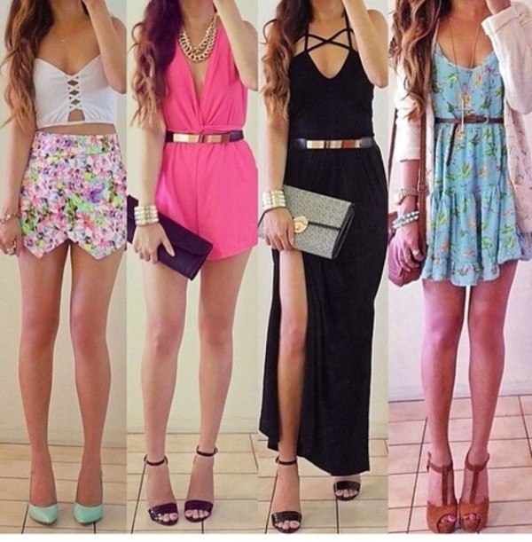 tank top skirt shoes dress jewels bag belt blouse cute