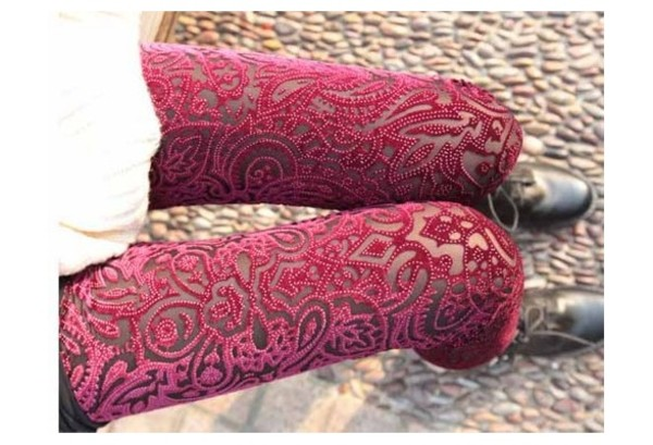 pants lace leggings leggings tights lace lace tights red burgundy pattern floral pattern floral