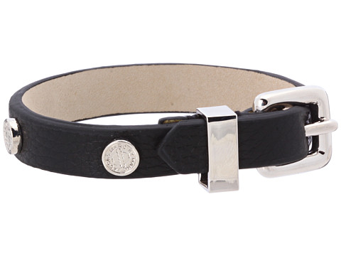Marc by Marc Jacobs Turnlock Charm Leather Bracelet Black - Zappos Couture