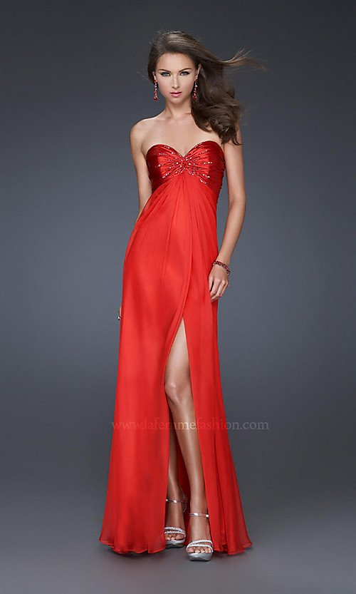 Empire Strapless sweetheart neck chiffon gown with satin beaded top Red dress Prom dresses-in Evening Dresses from Apparel & Accessories on Aliexpress.com