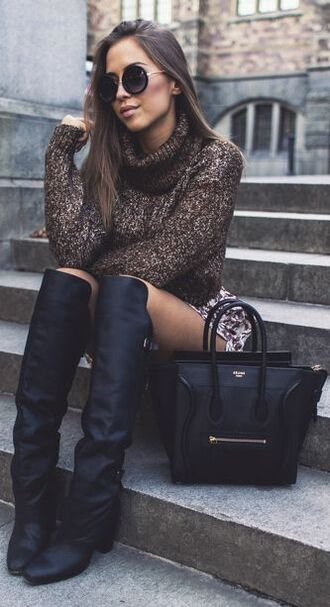 shoes brown sweater fall outfits winter outfits marled knit sweater leather black leather leather boots square toe boots turtleneck turtleneck sweater knitwear marled knit short sweater over the knee boots tall leather boots knee high boots fold over boots square toe celine celine bag leather bag sweater