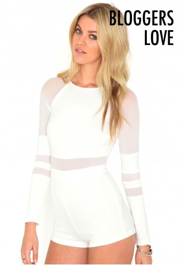 Diones Mesh Panel Playsuit - Playsuits - Missguided
