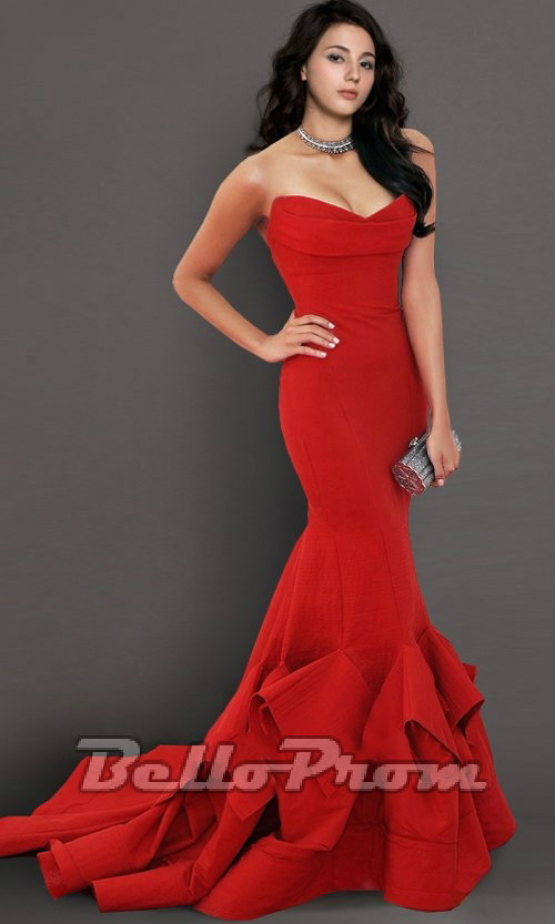 Sweetheart Neckline Flame Mermaid Prom Dress A4343 - belloprom.com