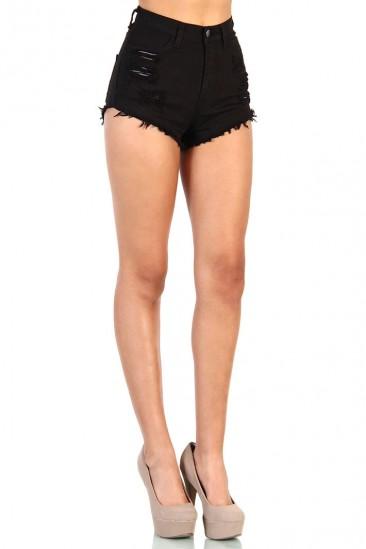 LoveMelrose.com From Harry & Molly   High Waisted Shorts - Black