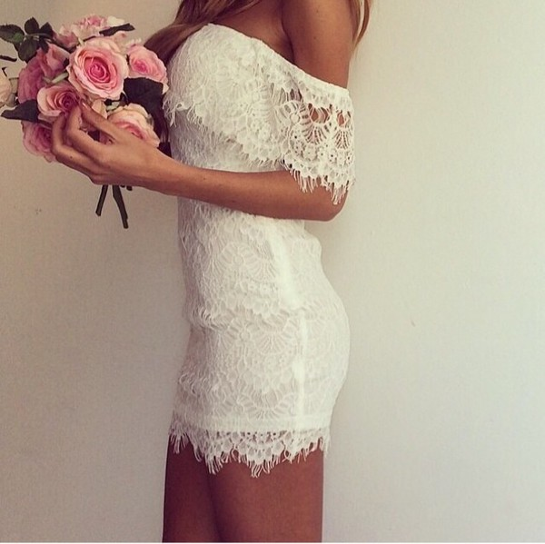 dress white dress white flowers roses girl lace dress beauty insanity perfect combination