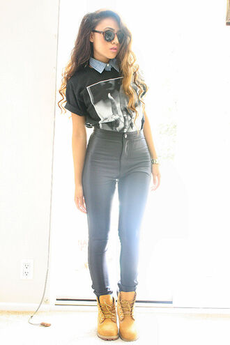dope urban swag leather pants printed t-shirt collar timberland high waisted sunglasses