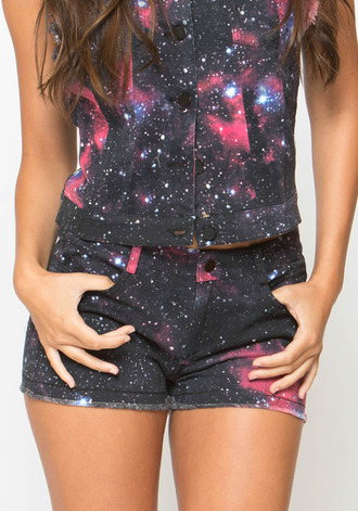 galaxy print cut off shorts
