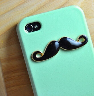 jewels iphone iphone cover moustache cute iphone case iphone 4 case teal