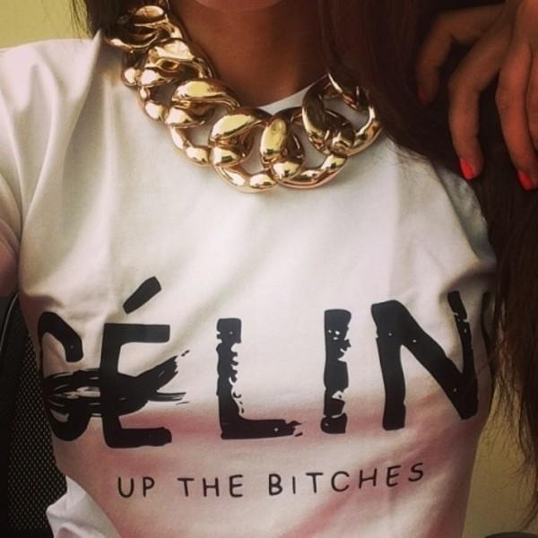 shirt clothes jewels celine white t-shirt t-shirt
