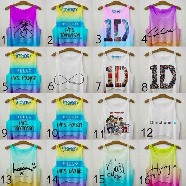 tank top one direction shirt crop tops