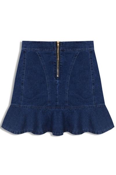 Flounce Denim Skirt - OASAP.com