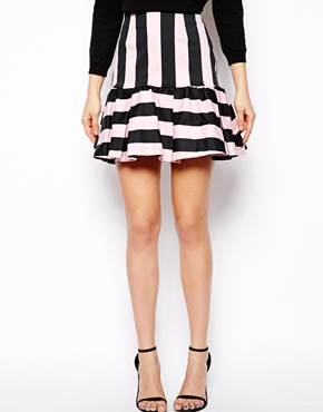 ASOS | ASOS Mini Skirt In Stripe with Peplum at ASOS