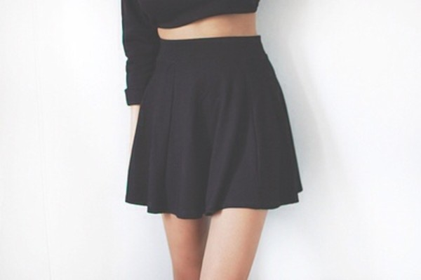 shirt black skater skirt skirt cute tumblr black skater skirt high waisted stretch