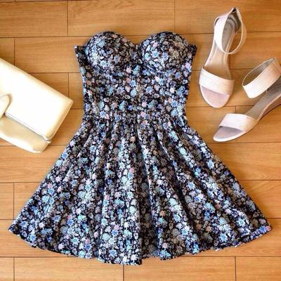 Blue Vintage Bustier Red Floral Dress · Humbly Glam · Online Store Powered by Storenvy