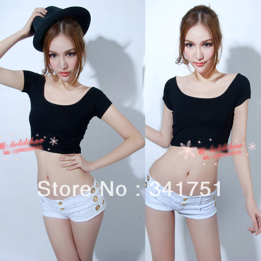 Hot sales black Sexy Womens Off Shoulder Short Sleeve Backless Stretch T Shirt Crop Tops Cropped shirt HR547 Free& DropShipping-in T-Shirts from Apparel & Accessories on Aliexpress.com