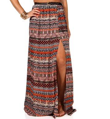 Mixed Print Belted Side Slit Maxi