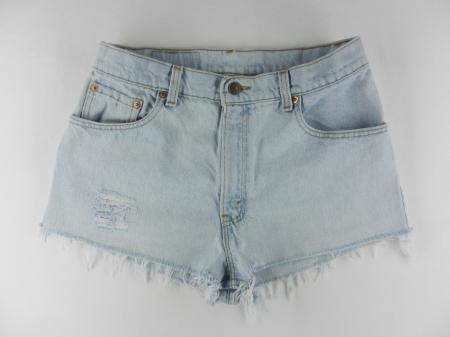 Levis 550 Daisy Duke Frayed Hem USA Light Denim Jean Shorts Womens Sz 11 S2ARH | eBay