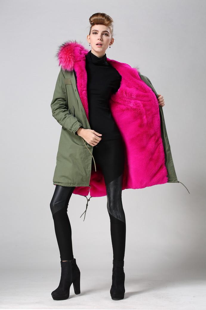 2015 Hot Pink Women Winter Army Green Faux Fur Parka Coat