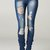 High Rise Destroyed Skinny Jeans Ripped Womens Dark Blue Denim Waist Distressed | eBay