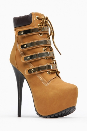 Breckelles Gold Plated Chestnut Lace Up Booties @ Cicihot. Booties spell style, so if you want to show what you're made of, pick up a pair. Have fun experimenting with all we have to offer!