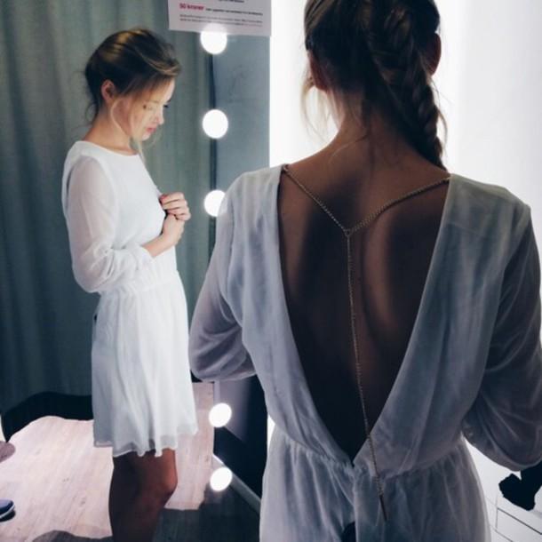 dress white dress bautiful cut-out dress summer hipster boho cute cute dress hipster dress