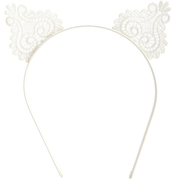 Lace Cat Ears Headband - Charlotte Russe - Polyvore