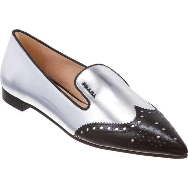 Prada Metallic Pointed Toe Brogue Loafer - Polyvore
