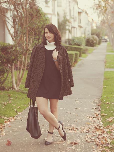 lady a la mode blogger brown flats coat dress top shoes jewels