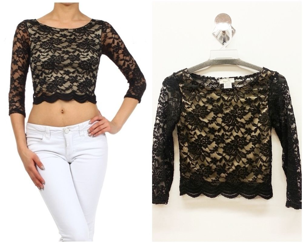 bbe456a7 Black Long Sleeve Lace Top Uk