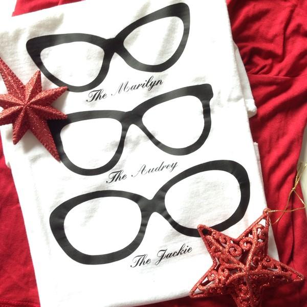t-shirt t-shirt white t-shirt black sunglasses jackie kennedy christmas