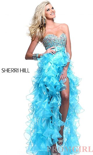 Strapless High Low Prom Dresses, Sherri Hill Hi Lo Dress-PromGirl