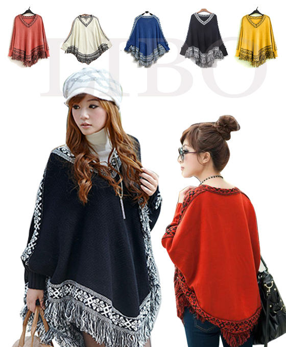 Women Batwing Knitwear Sleeve Tassels Hem loose Pullover blouse irregularity Cloak Poncho Cape Tops Knitting Sweater Coat Shawl-in Pullovers from Apparel & Accessories on Aliexpress.com