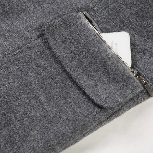 Grey Contrast Navy Hooded Buttons Woolen Coat - Sheinside.com