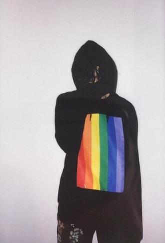 shirt rainbow hoodie pullover colorful black