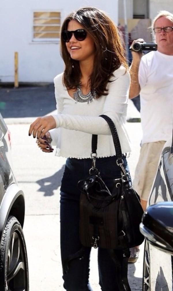 black sunglasses selena gomez cropped sweater white sweater silver necklace