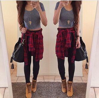 blouse t-shirt top shoes tan boots comat boots boots brown boots leggings necklace flannel shirt crop tops black pants bag high school