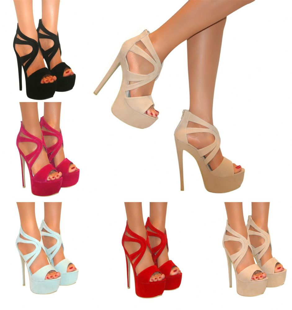 KOI COUTURE CUT OUT STILETTO PEEP TOE STRAPPY HIGH HEEL PLATFORM SANDALS