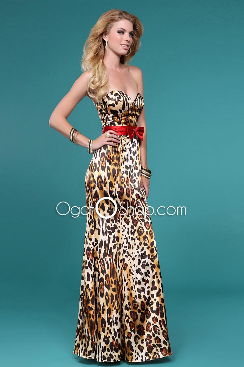 Superb Charming Strapless Cute Bow Tie Leopard Print Evening Dress