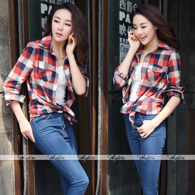 Womens Button Down Casual Lapel Shirt Plaids & Checks Flannel Shirts Tops Blouse | eBay