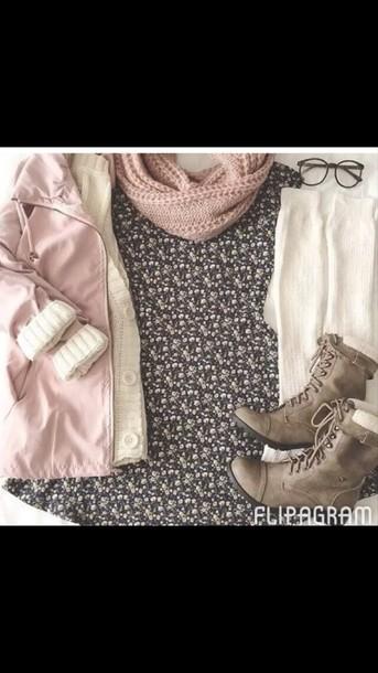 coat black dress pink coat boots scalf